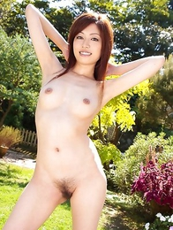 Runa Itou rubs hairy cooter with panty and exposes it nude