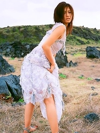 Misako Yasuda shows sexy legs in sexy ways even in hay