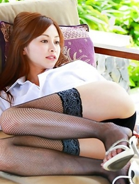 Anri Sugihara in shirt and fishnets shows huge hooters