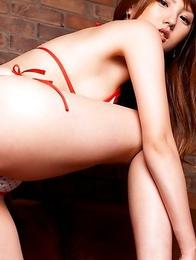 Tsubasa Amami takes shorts off and shows twat in bikini