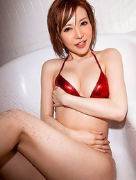 Yuria Satomi wants to kiss herself in mirror from sexy she is