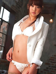 Mina Asakura in stockings takes shirt off and shows tits