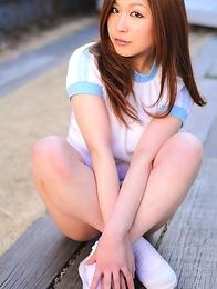 Miyu Kanzaki with hot ass in blue shorts loves sports a lot