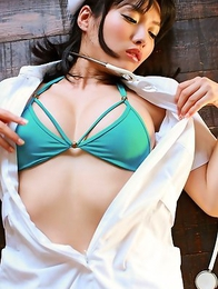 Anna Konno horny nurse undresses and shows leering curves