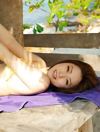 Ai Haneda busty in yellow lingerie is happy at sea shore