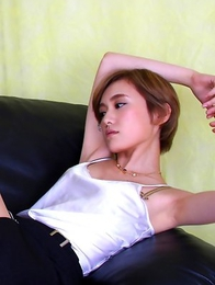 Yuu Ishiki with naughty tits touches her cunt over panty