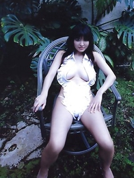 Miri Hanai shows huge melons in tiny lingerie on grass