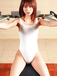 Mika Orihara shows hot curves while doing some gymnastics