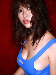 Mai Nishida has big jugs and firm butt in blue lingerie