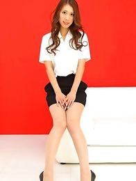 Reika Miki with sexy legs shows hot behind in tight skirt