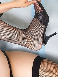 Misaki Nito is such sexy kitten in fishnets and linge