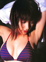 Delicious asian hottie Yoko Kumada dressed in a nurse outfit and a bikini