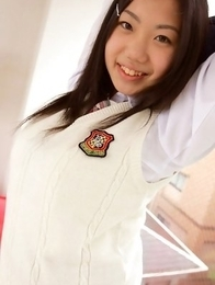 Miho Takai in school uniform is very playful before classes