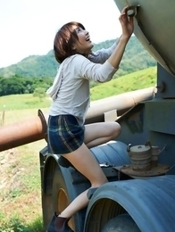 Neo babe in short skirt loves playing in dangerous places