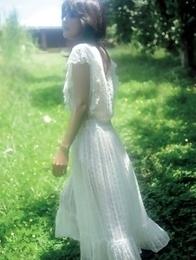 Neo babe in white dress loves feeling her body in water