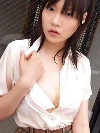 Airi Sakuragi unbottoms shirt and shows chest in white bra