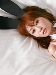 Aki Nishijima is sexy bunny with ears and fishnet stockings