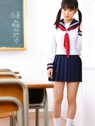 Kana Moriyama is sexy both in uniform and in satin linjerie