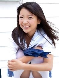 Fuuka Nishihama takes school uniform off piece by piece