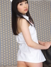 Kotone Moriyama is a hot nurse in red and white lingerie