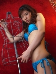 Cocoro Amachi in blue bath suit is incredibly appetizing